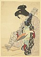 KABURAGI KIYOKATA A woman with chopsticks pick up morsels of food., Kiyokata Kaburagi, Click for value