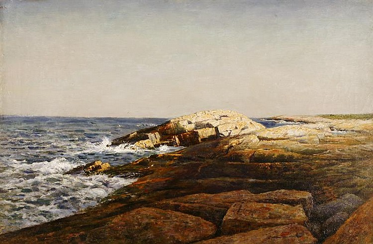 ROBERT WARD VAN BOSKERCK, American, 1855-1932, Luminous rocky coast., Oil on canvas, 20
