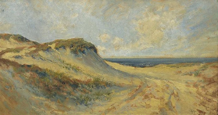 ARTHUR VIDAL DIEHL, American, 1870-1929, Cape Cod dunes., Oil on board, 15