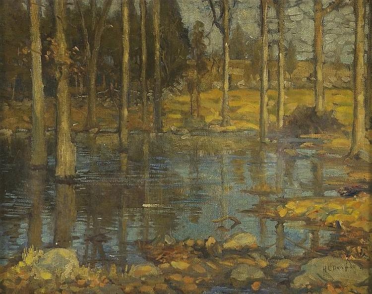 HAROLD C. DUNBAR, American, 1882-1953, Impressionist Massachusetts forest scene., Oil on canvas, 16