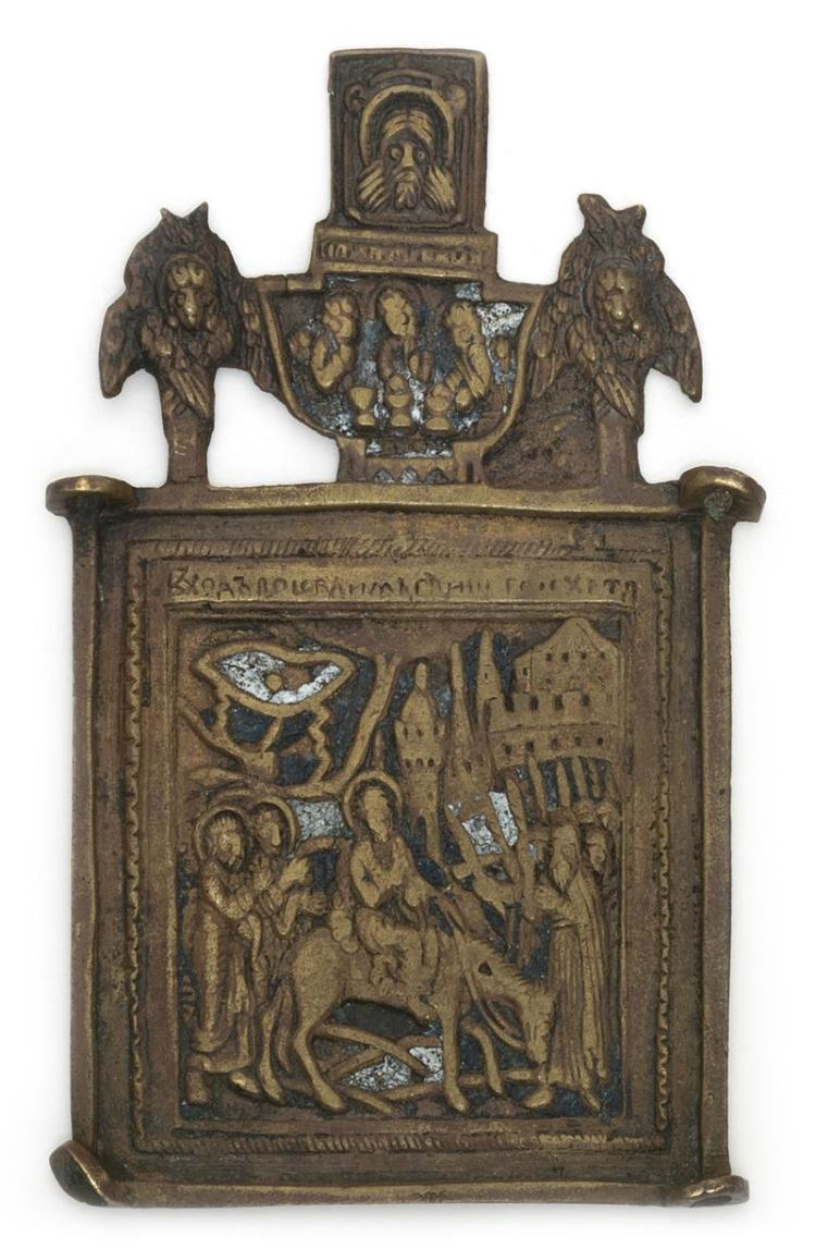 RUSSIAN BRASS AND ENAMEL ICON Depicting Christ's entry into Jerusalem. Height 3.6