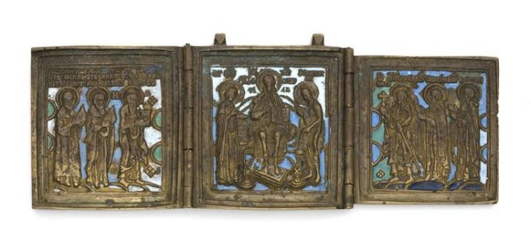 RUSSIAN BRASS AND ENAMEL TRIPTYCH ICON Depicting Christ, Mary, John the Baptist, and six Apostles. Length extended 6.5