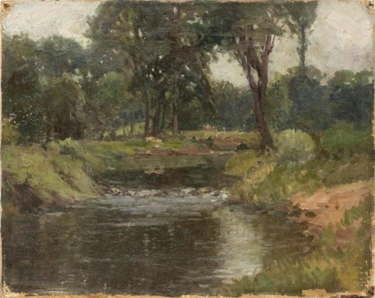 AMERICAN SCHOOL, Early 20th Century, A tree-lined river., Oil on canvas, 14