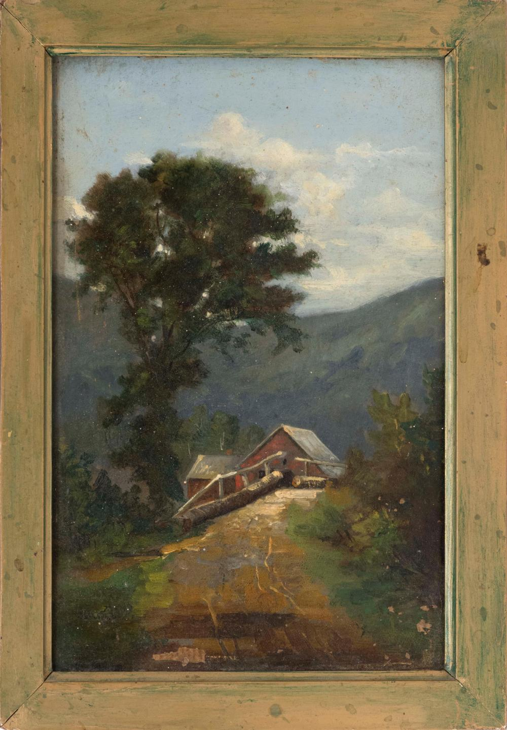 AMERICAN SCHOOL, Late 19th/Early 20th Century, A house on a mountain path., Oil on board, 10.75