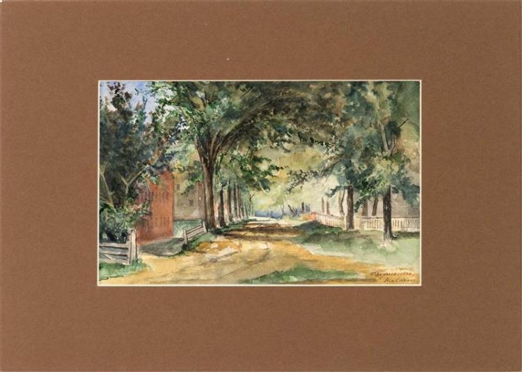 THADEUS DEFREES, American, 1855-1888, A country lane., Watercolor on paper, 5.5
