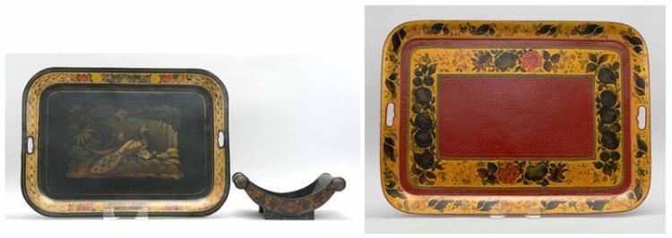 THREE PIECES OF TOLEWARE 1) Cheese wheel holder with shell and floral decoration. Length 13.75