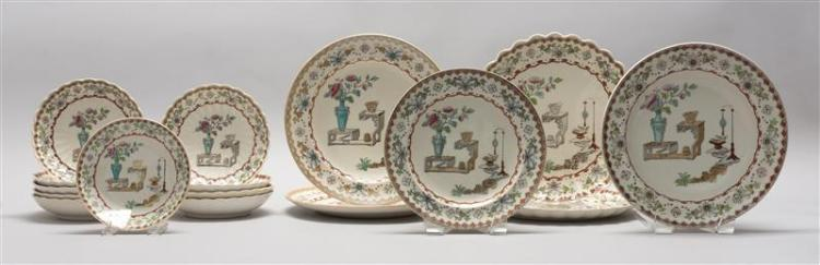SIXTEEN PIECES OF COPELAND CHINA In Oriental vase design. Including sauce dishes and luncheon plates.