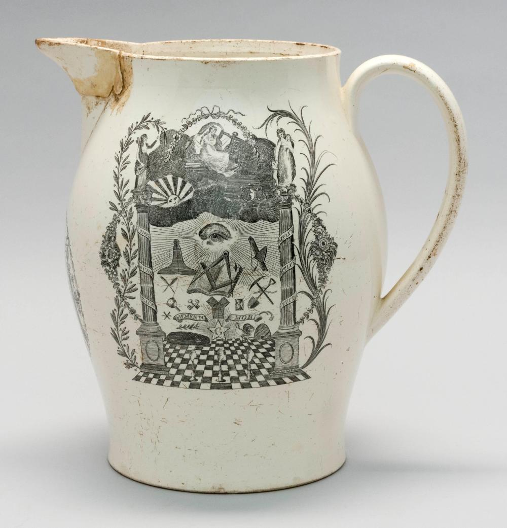 LIVERPOOL POTTERY PITCHER With Masonic decoration in black and white. Height 10.25