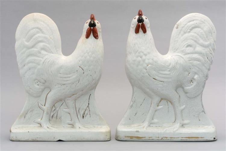 PAIR OF WHITE STAFFORDSHIRE ROOSTERS Heights 12