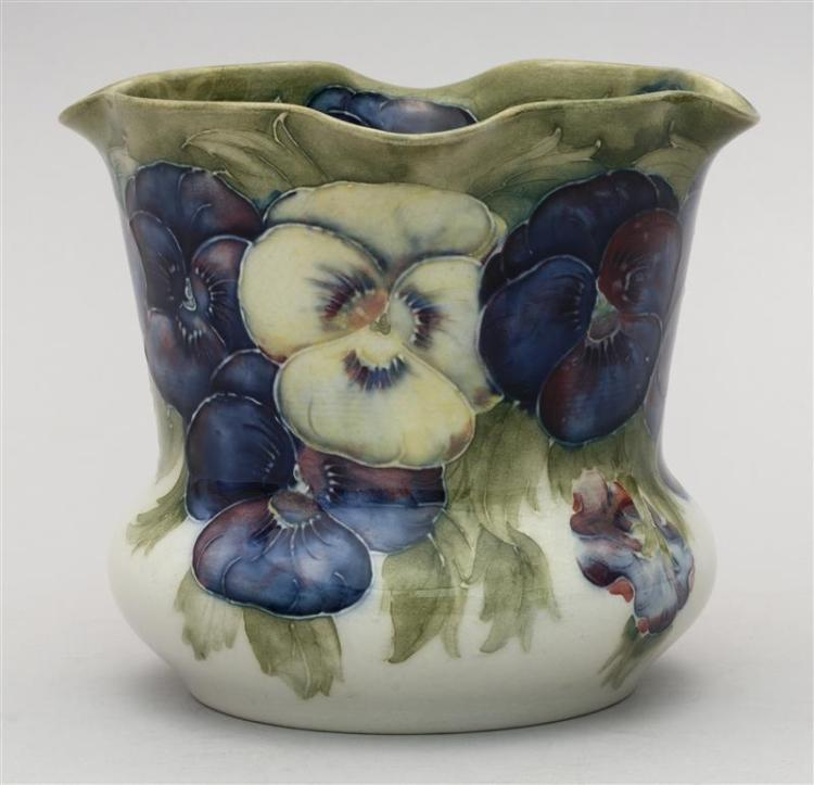 Moorcroft Pottery Vase With Flutter Rim And Pansy Decoration