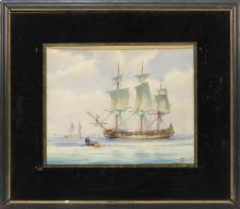 "JOHN F. LEAVITT, Massachusetts/Connecticut, 1905-1974, Portrait of the frigate H.M.S. Boston., Watercolor on paper, 10.5"" x 13"" sigh..."