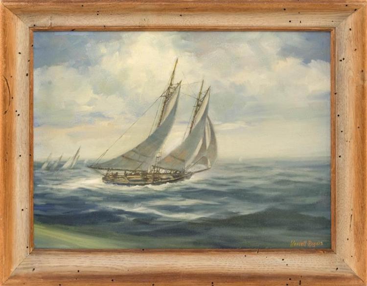 WENDELL M. ROGERS, Massachusetts, 1890-197, Yachting scene., Oil on board, 12