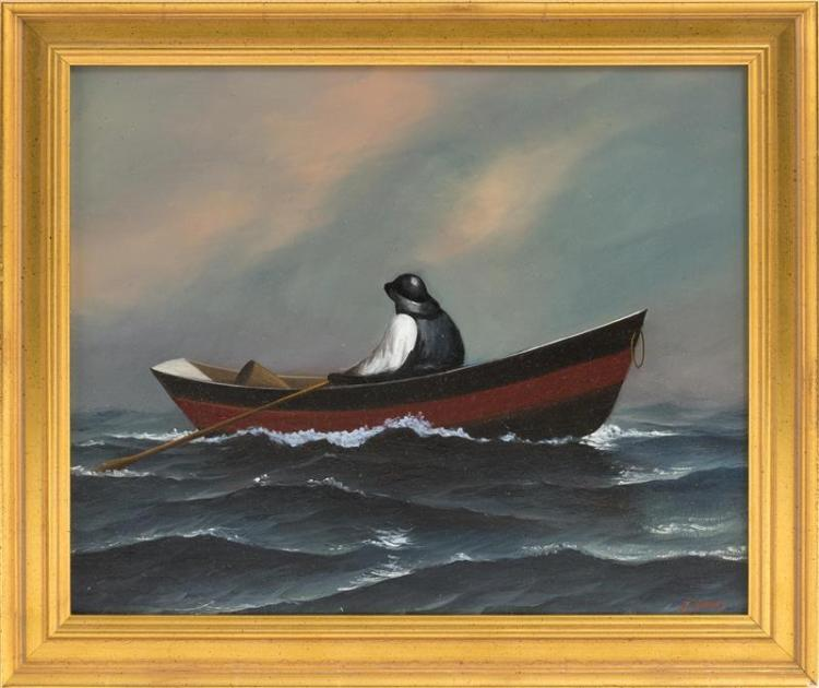 JEROME HOWES, New York/Massachusetts/Vermont, b. 1955, A fisherman in a dory., Oil on artist board, 9.75
