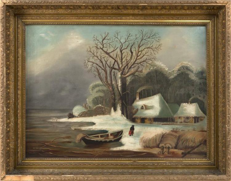 PRIMITIVE-STYLE PAINTING: ARTIST UNKNOWN A snow-covered house by the water's edge. Unsigned. Oil on canvas, 22