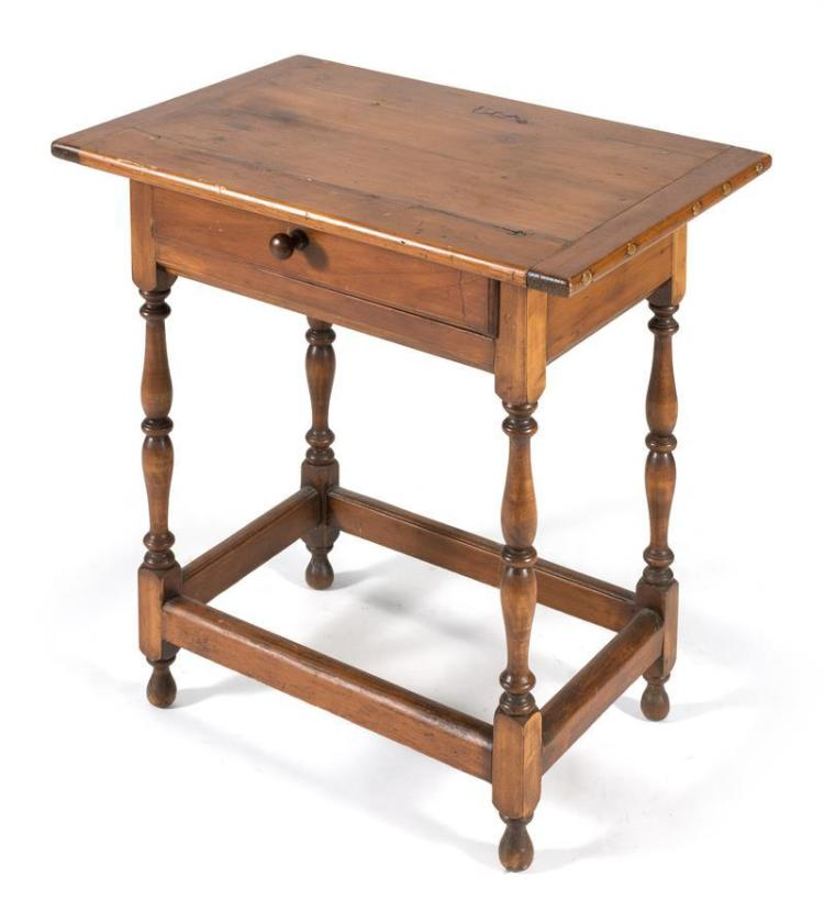 18TH CENTURY-STYLE ONE-DRAWER TAVERN TABLE In maple with pine breadboard top, turned legs, and box stretcher. Height 27