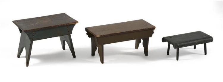 THREE PAINTED WOOD STOOLS All in rectangular form. One in brown paint, length 20