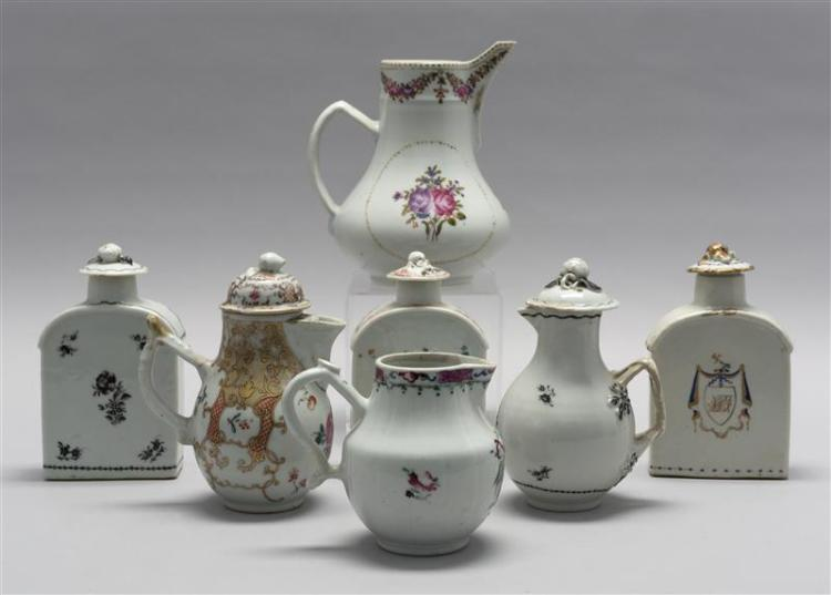 SEVEN PIECES OF CHINESE EXPORT PORCELAIN Three tea caddies together with four cream pitchers. All with floral design. Tea caddies an...