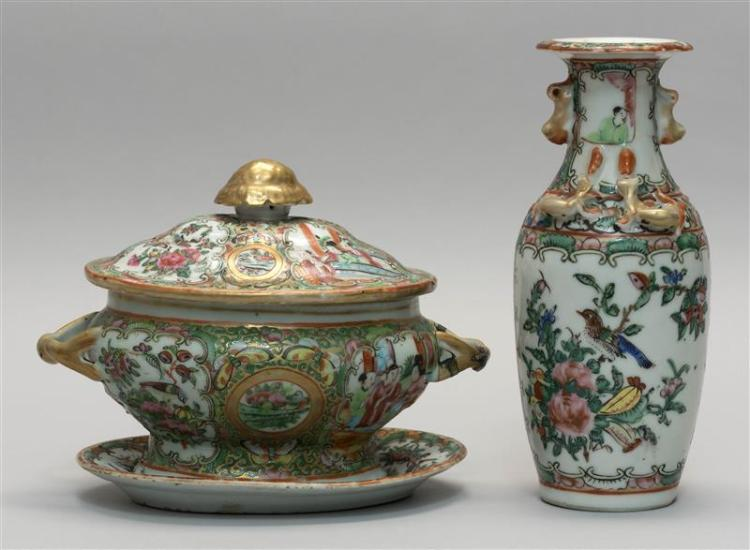 CHINESE EXPORT ROSE MEDALLION PORCELAIN COVERED SAUCE TUREEN WITH UNDERTRAY Together with a Chinese Rose Medallion vase, height 8.25