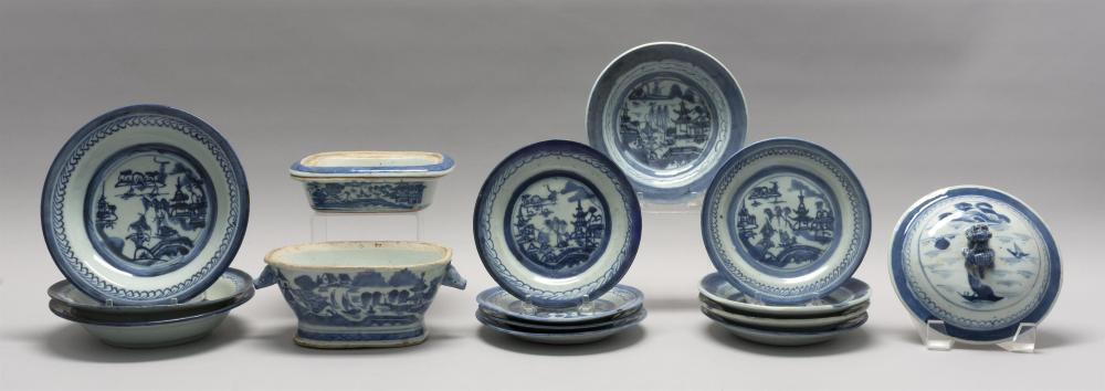 SIXTEEN ASSORTED PIECES OF CHINESE EXPORT BLUE AND WHITE CANTON PORCELAIN Nine assorted 6