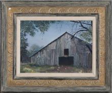"""MARION BRYANT COOK, Tennessee, b. 1933, The barn., Oil on canvas, 12"""" x 16"""". Framed 20.5"""" x 24.5""""."""