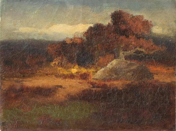 SCHOOL OF ROBERT SWAIN GIFFORD, American, Late 19th Century, Meadow with a tree and a rock., Oil on canvas, 6