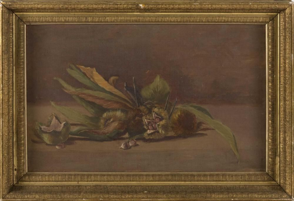 DARIUS COBB, Massachusetts, 1834-1919, Still life with chestnuts., Oil on canvas, 14