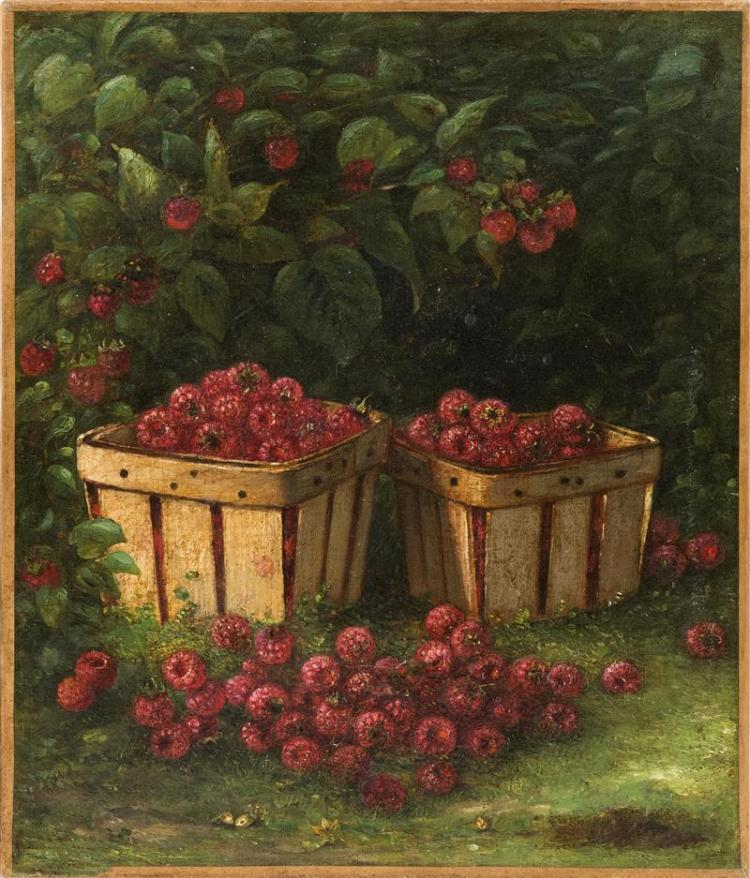 AMERICAN SCHOOL, 19th Century, Two baskets of raspberries., Oil on canvas, 14