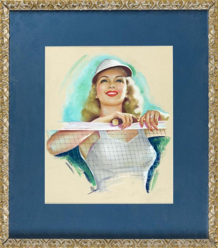 ELSIE MILLER, American, b. 1916, Badminton beauty., Pastel on paper, 21.25