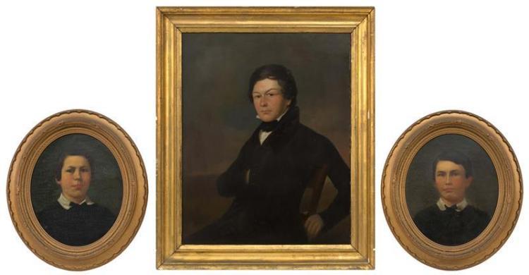 THREE PORTRAITS: NIXON FAMILY MEMBERS 1) Portrait of Zachariah Weston Nixon, seated and wearing a black coat. Circa 1830. Oil on pan...