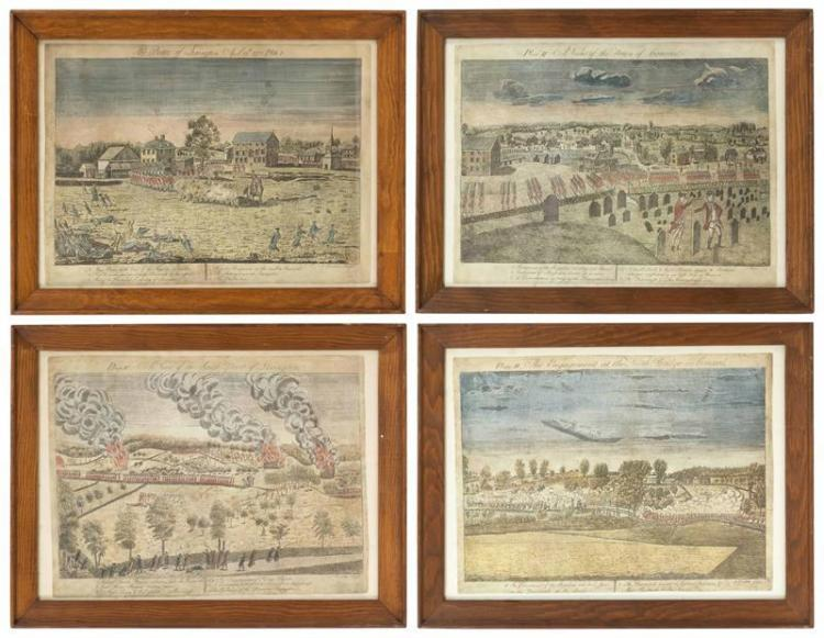 SET OF FOUR REPRODUCTION COLONIAL ENGRAVINGS Featuring historical scenes of Lexington and Concord. Lithographs, 14