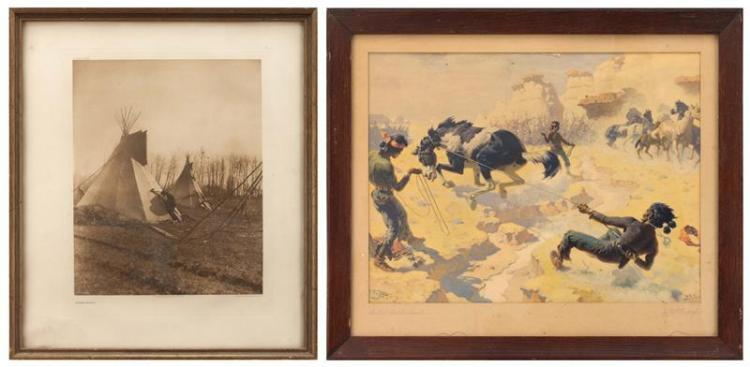 TWO PRINTS OF AMERICAN NATIVE INTEREST A lithograph after a painting by W.R. Leigh and a printed photograph titled