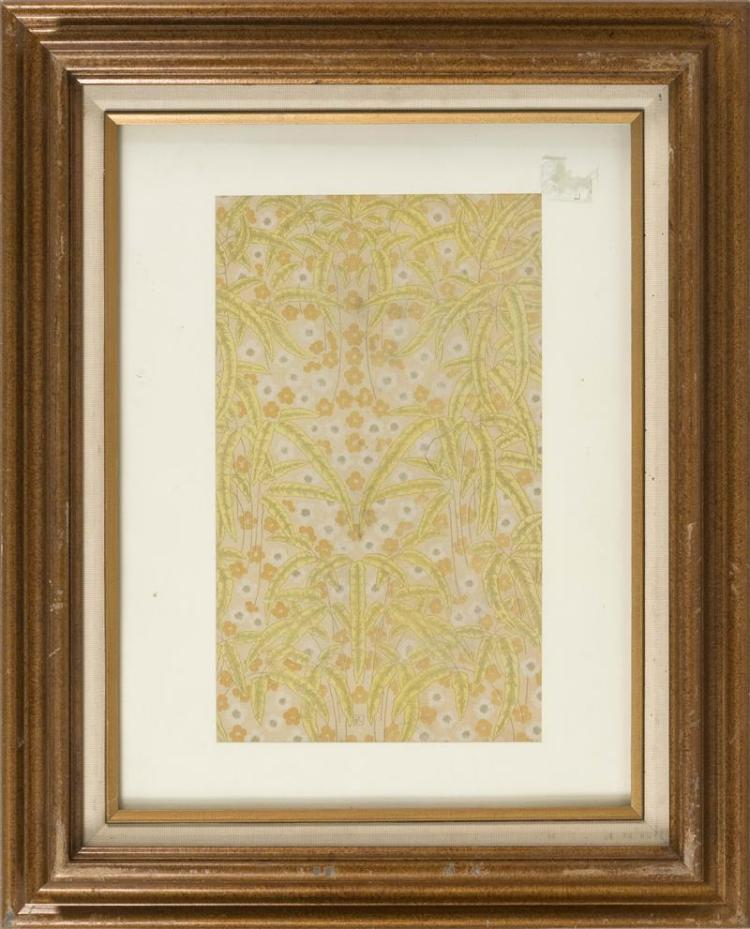CHINESE FLORAL-DESIGN PRINT A repeating design of palm leaves and prunus. Signed with monogram. 14