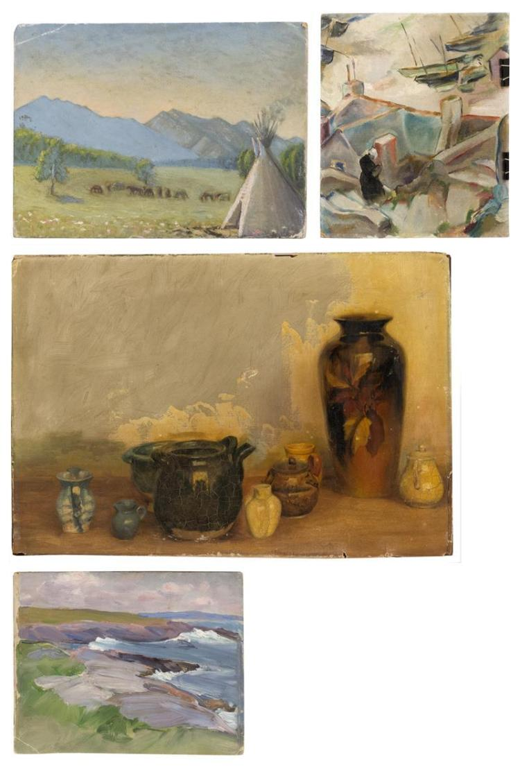 FOUR PAINTINGS 1) A landscape with tepee. Oil on board, 10