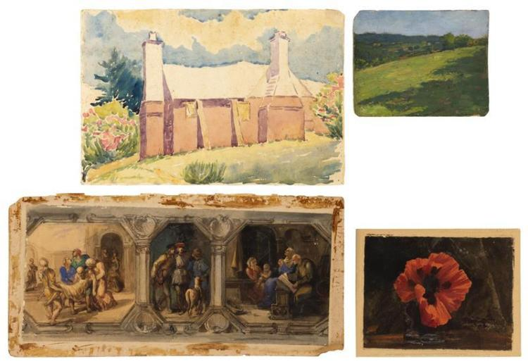 FOUR SKETCHES 1) Continental School with three vignettes. Watercolor, 8