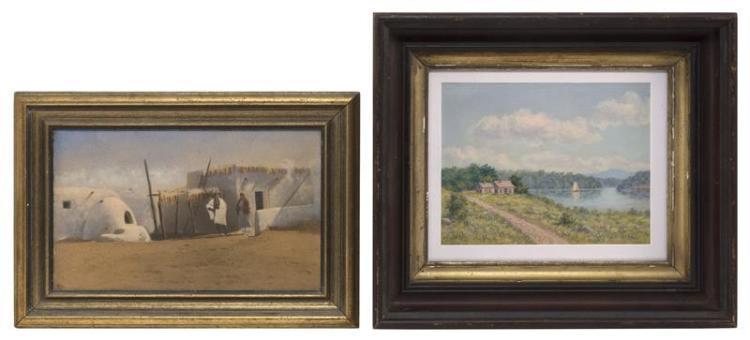 "TWO ARTWORKS 1) A painting depicting a farmhouse on a mountain lake. Unsigned. Oil on unstretched canvas, 7"" x 8.5"" sight. Framed 12..."