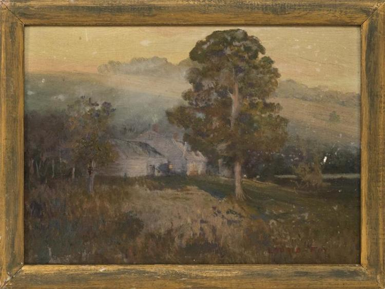 LAURIE FOY, American, 20th Century, Moonlit farmhouse., Oil on canvas board, 10