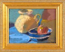 "MICHAEL MOSS, Massachusetts, b. 1951, ""Pitcher and Blue Bowl""., Oil on board, 9"" x 12"". Framed 13"" x 15.5""."