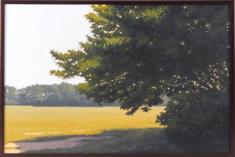 """JIM HOLLAND, Massachusetts/Florida, b. 1955, """"Shady Spot""""., Oil on canvas, 24"""" x 36"""". Framed 25"""" x 37""""."""