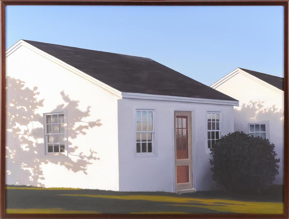 "JIM HOLLAND, Massachusetts/Florida, b. 1955, ""Sunrise Shadows""., Oil on canvas, 30"" x 40"". Framed 31"" x 41""."