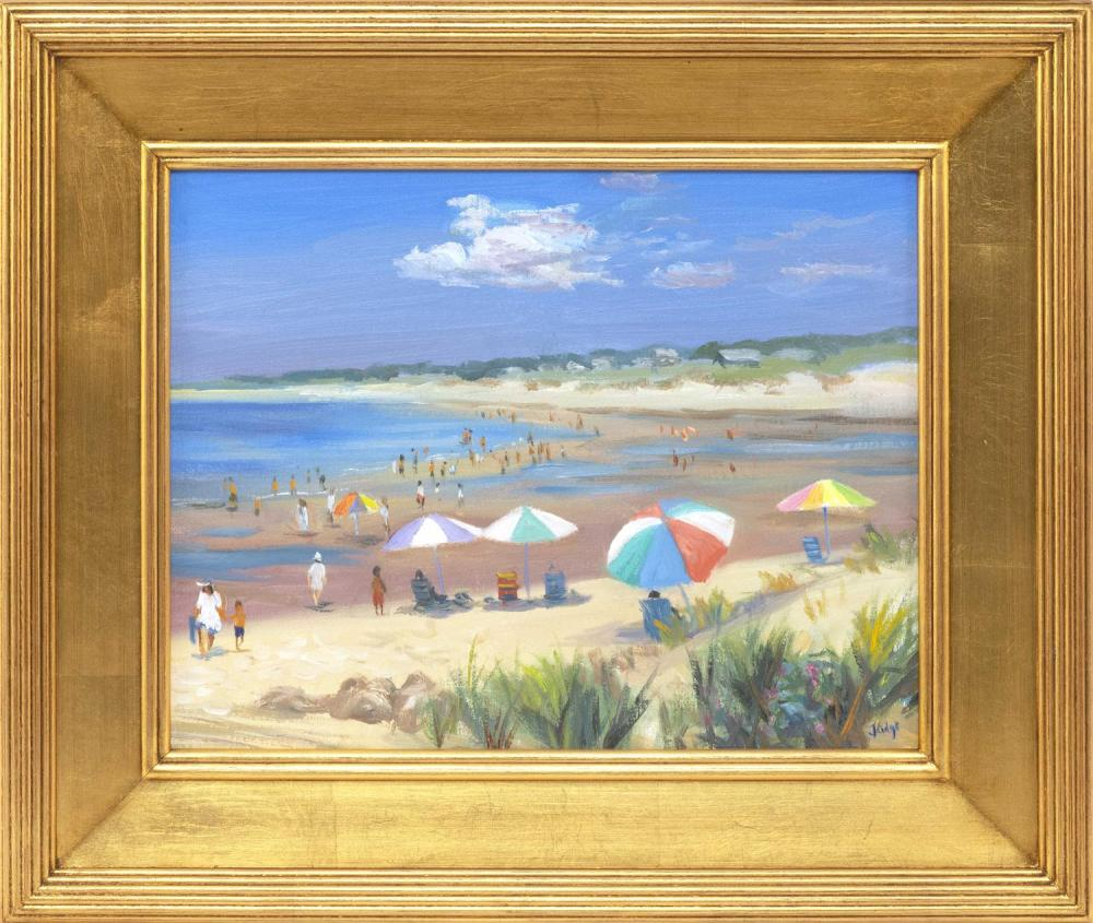 "CELIA JUDGE, Massachusetts, Contemporary, ""Beach Colors #2""., Oil on canvas, 11"" x 14"". Framed 16.5"" x 19.5""."
