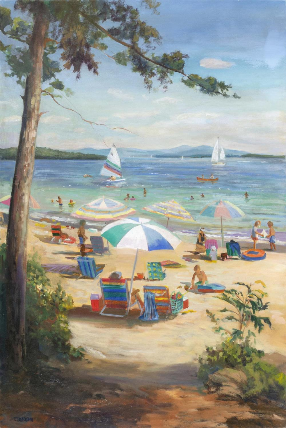 "CELIA JUDGE, Massachusetts, Contemporary, ""Summer Idyll""., Oil on canvas, 36"" x 24"". Unframed."