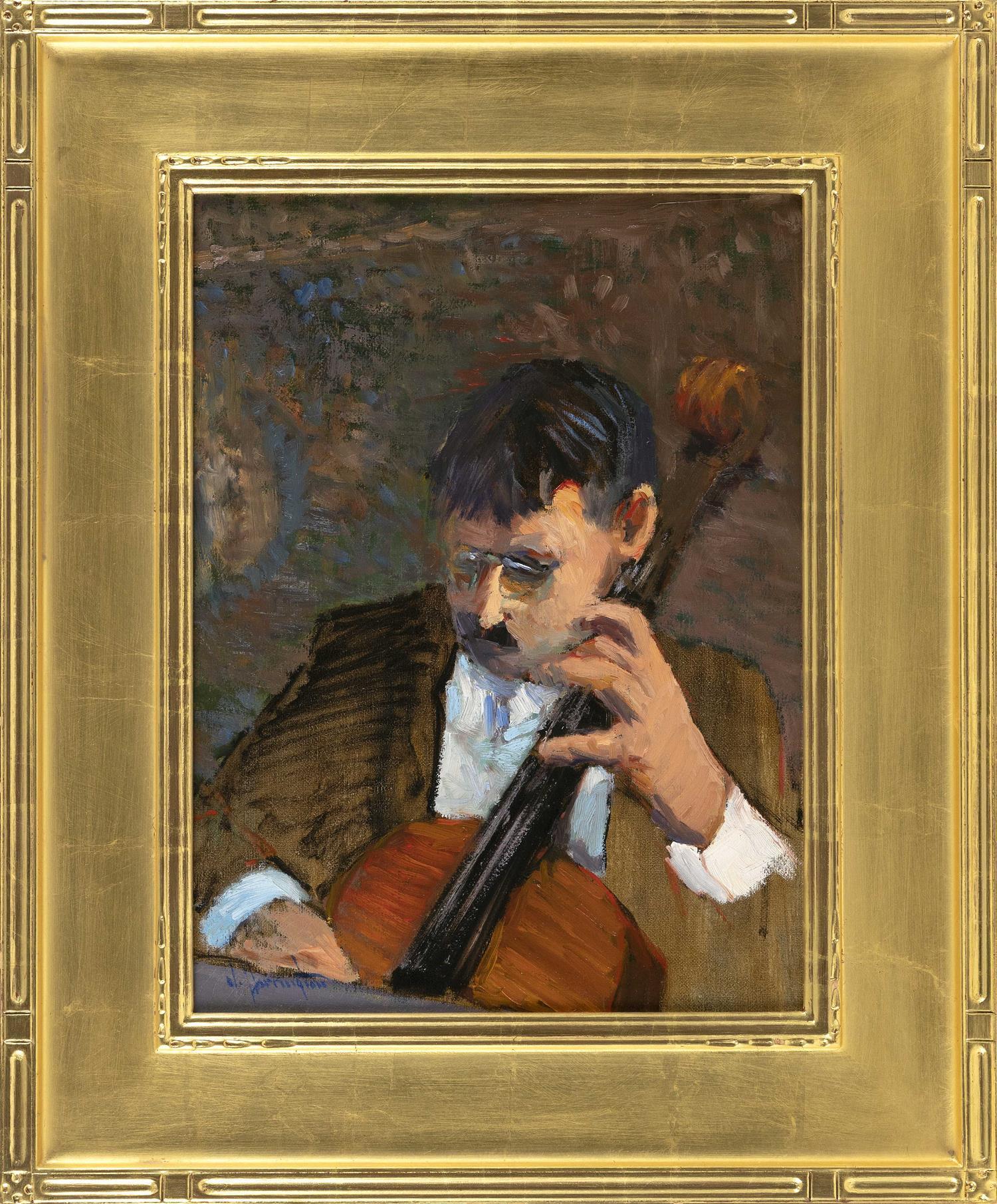 """JAMES R. HARRINGTON, New York, b. 1929, """"Etude""""., Oil on canvas, 16"""" x 12"""". Framed 23"""" x 19""""."""