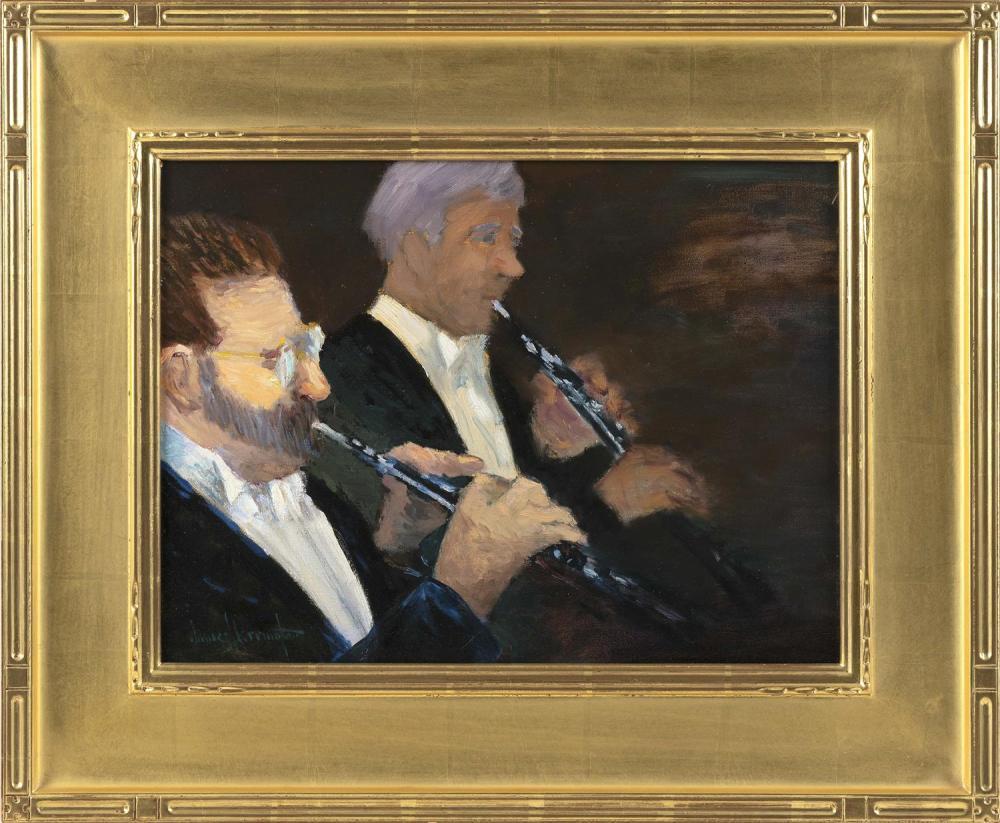 """JAMES R. HARRINGTON, New York, b. 1929, """"Duet""""., Oil on canvas, 12"""" x 16"""". Framed 19"""" x 23""""."""