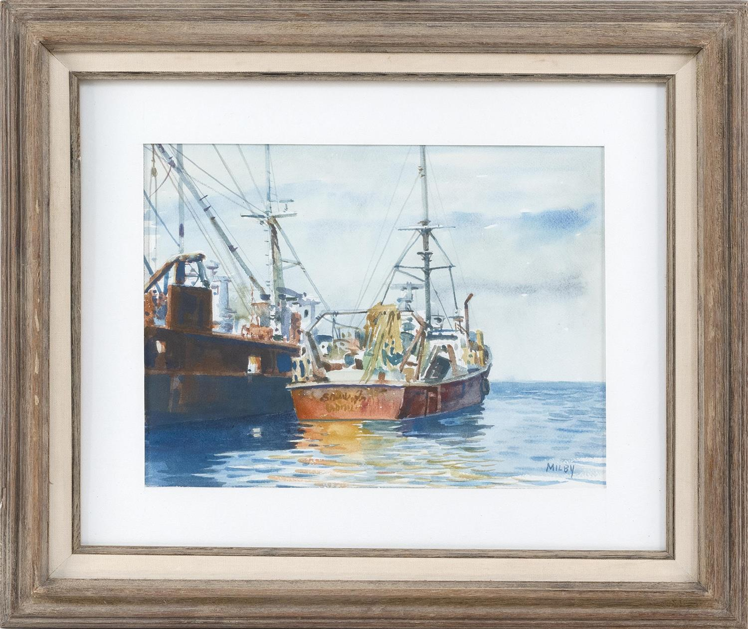 "FRANK MILBY, Massachusetts, b. 1933, Fishing boats in Provincetown Harbor., Watercolor on paper, 16"" x 20"". Framed 22"" x 25""."