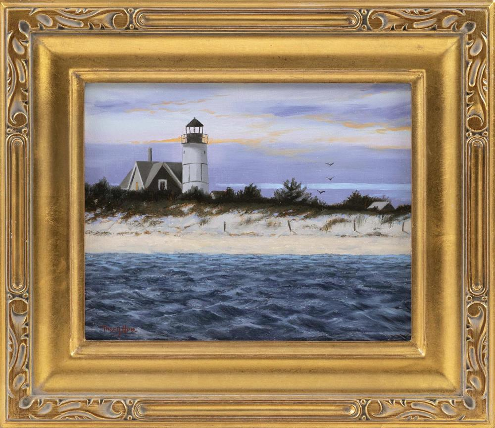 """TRACY LINDHOLM NEE, Cape Cod, Contemporary, Sandy Neck., Oil on board, 8"""" x 10"""". Framed."""