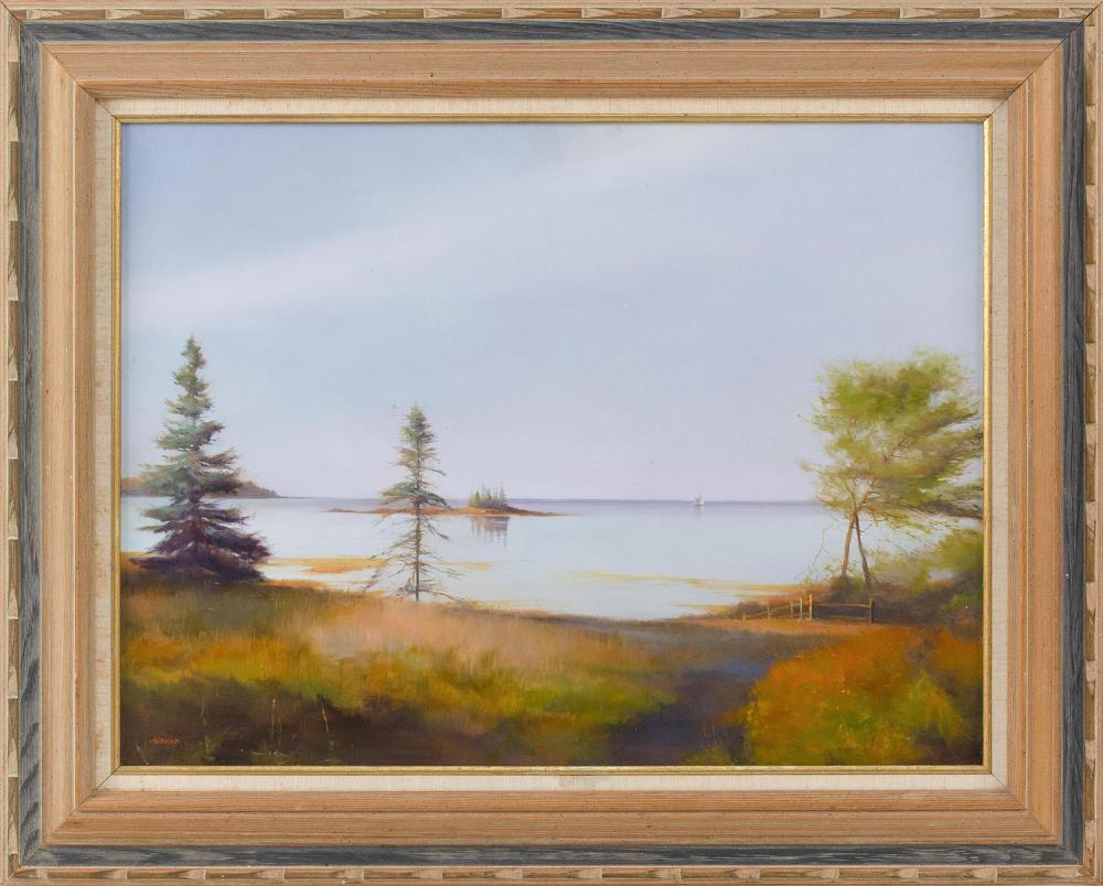"""ARNOLD DESMARAIS, Massachusetts, b. 1952, """"When Morning Calls II / September Bay""""., Oil on board, 18"""" x 24"""". Framed 26"""" x 32""""."""
