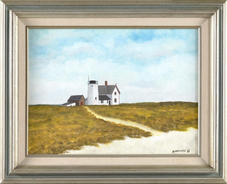 "MARIELUISE HUTCHINSON, Massachusetts, b. 1947, Stage Harbor Lighthouse / Harding's Beach Lighthouse., Oil on board, 12"" x 16"". Frame..."