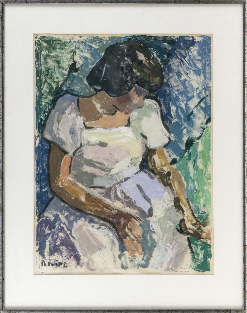 "JOAN PEREIRA, Massachusetts/Pennsylvania, b. 1933, Portrait of woman in white., Mixed media on paper, 24"" x 18"" sight. Framed 33"" x..."