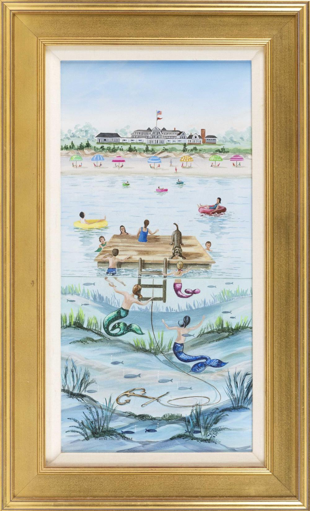 """JAYNE SHELLEY-PIERCE, Cape Cod, Contemporary, """"Wianno Maids""""., Oil on canvas, 24"""" x 12"""". Framed 31"""" x 19""""."""