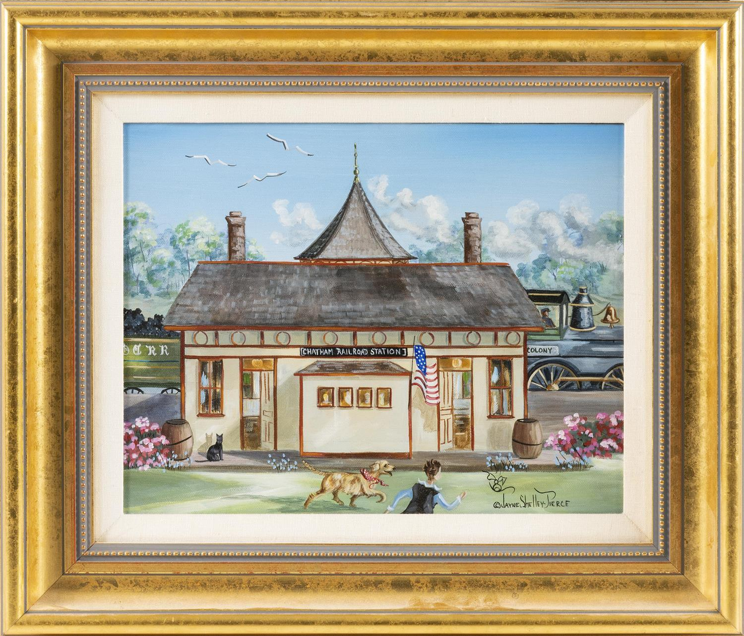 "JAYNE SHELLEY-PIERCE, Cape Cod, Contemporary, ""Chatham Railroad Station""., Oil on canvas, 11"" x 14"". Framed 17"" x 20""."